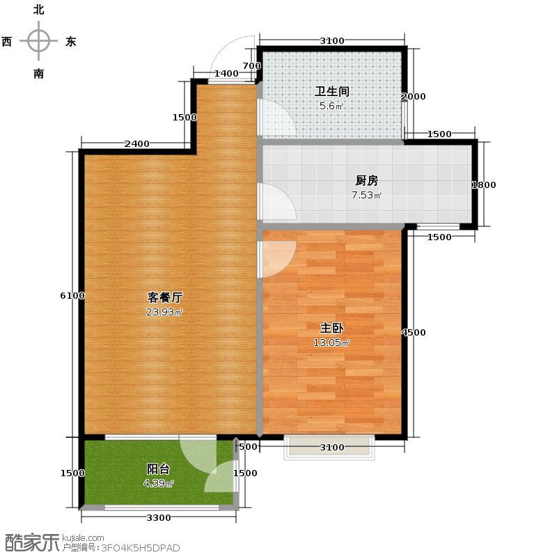 荔隆观邸72.77㎡D3户型1室1厅1卫