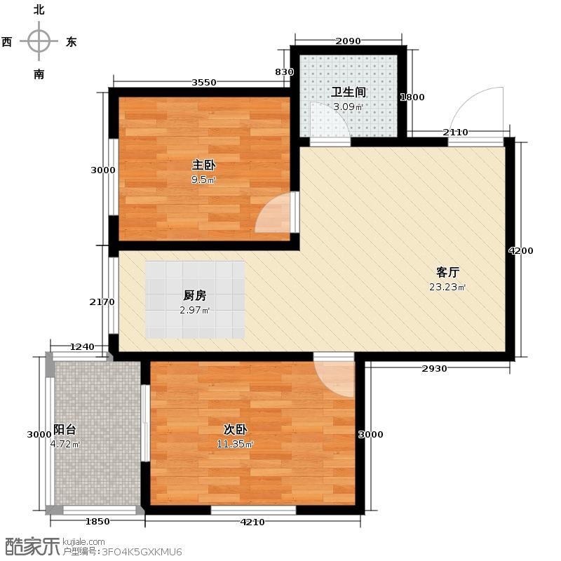 景泰花苑67.97㎡户型2室1厅1卫