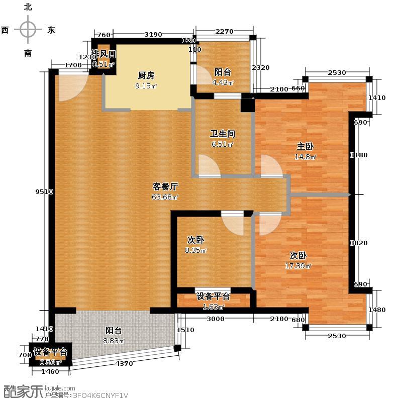 锦江豪庭132.32㎡3期碧雅轩1-2座03单位户型10室