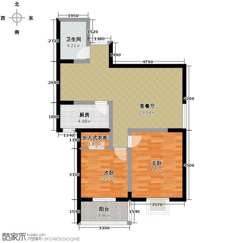 五龙汤花园89.56㎡A、C、D栋楼D户型2室1厅1卫1厨