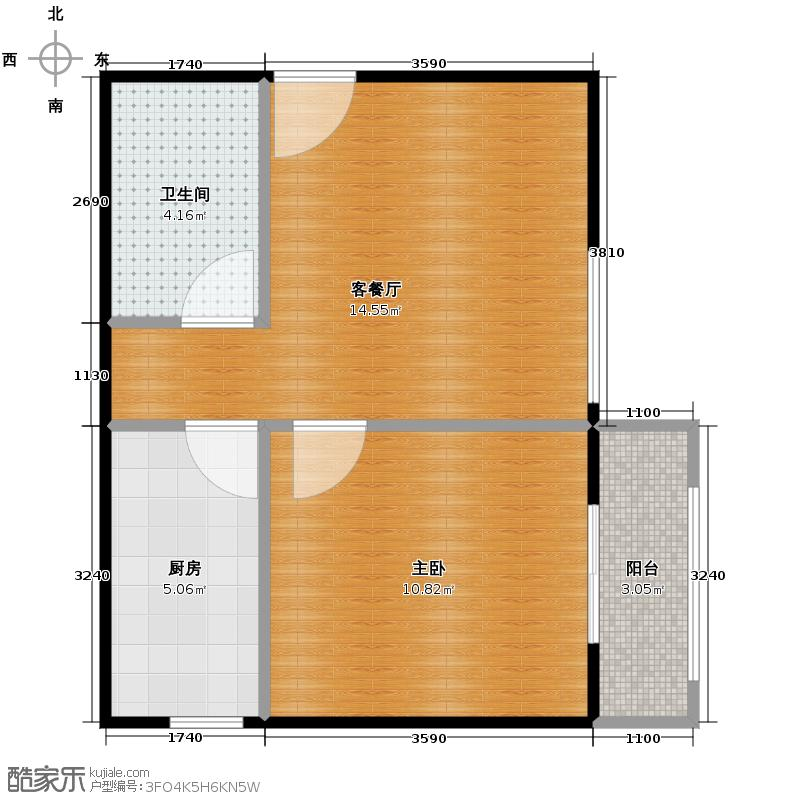 金辉天鹅湾51.00㎡13号楼户型1室1厅1卫