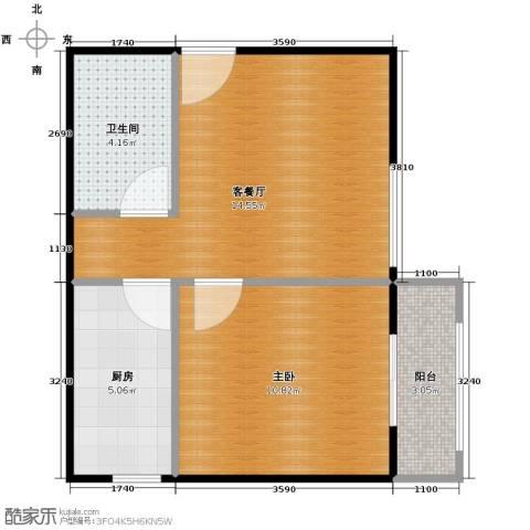 金辉天鹅湾1室1厅1卫0厨51.00㎡户型图
