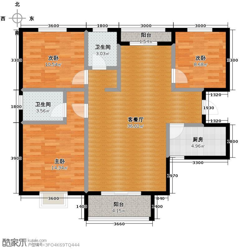 香缤国际城126.70㎡6#楼A1户型3室2厅2卫