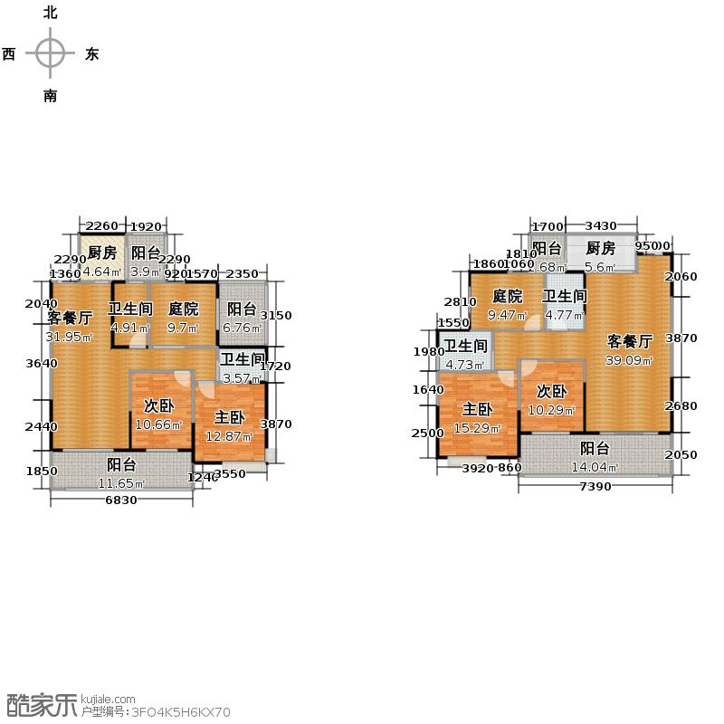 慕和南道101.00㎡13幢户型4室2厅4卫2厨