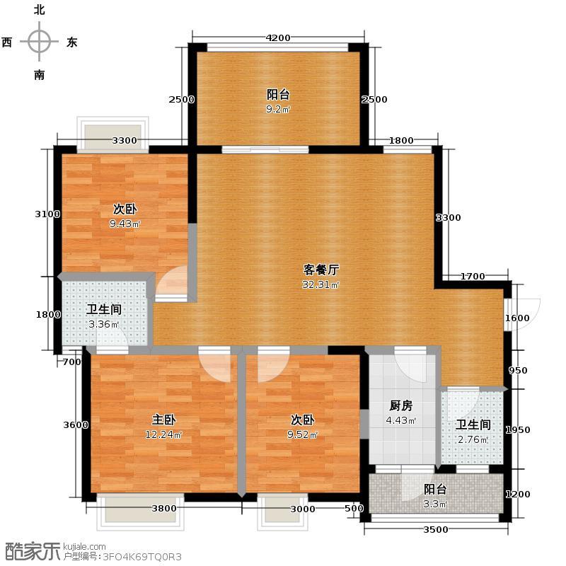 德坤海地亚97.62㎡13栋C2户型3室2厅2卫