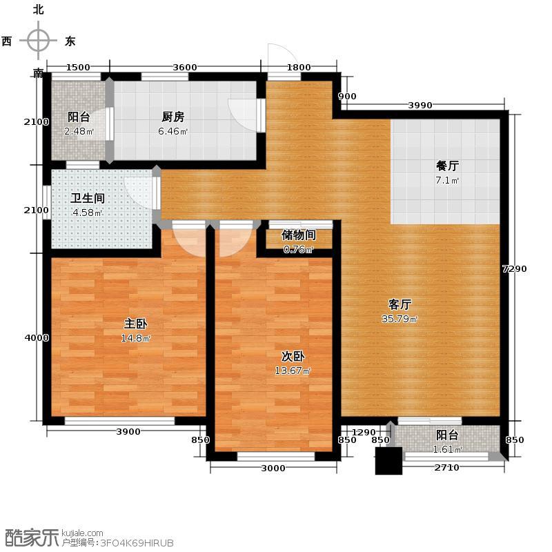 格调艺术领地115.00㎡10号楼2M户型2室2厅1卫