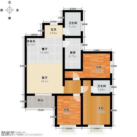 香缤国际城3室2厅2卫0厨123.00㎡户型图