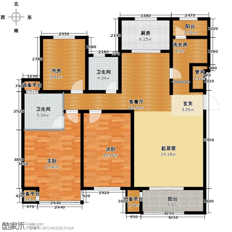 曲院风荷153.00㎡M32829号楼标准层户型3室2厅2卫