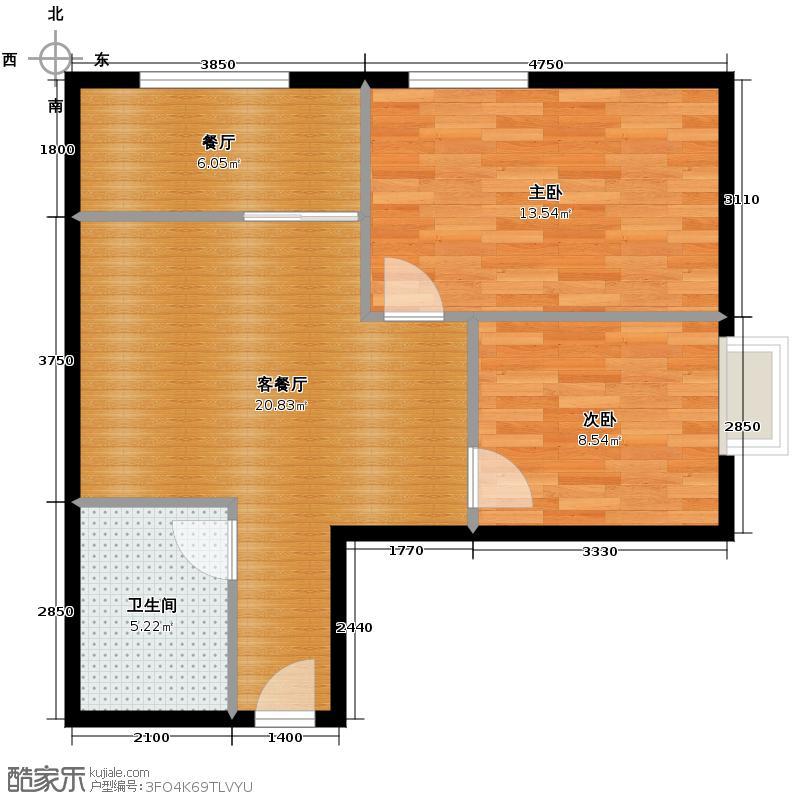 高新水晶城73.18㎡C1户型2室2厅1卫