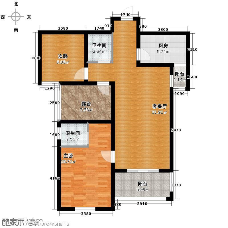 融侨城110.00㎡11号楼3单元C户型3室2厅2卫