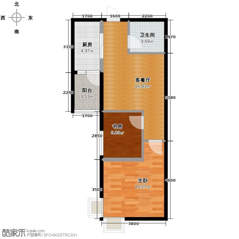 东泰城市之光61.37㎡A2户型2室1厅1卫1厨