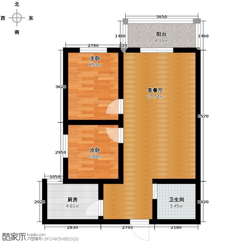 宏源国际公寓87.08㎡B户型2室2厅1卫