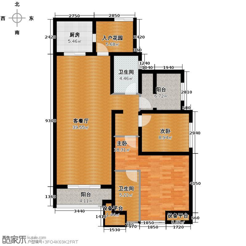 紫御江山131.00㎡紫峰组团L舒适三居户型2室1厅2卫1厨