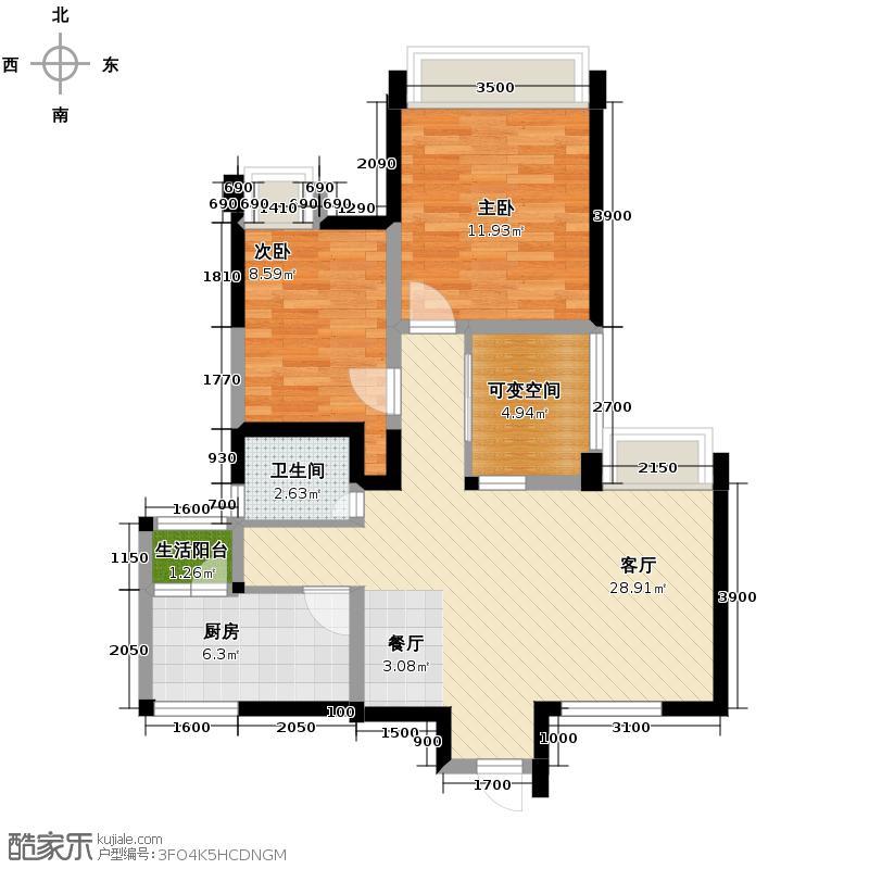 瑞升望江橡树林74.82㎡二期2栋B3户型2室2厅1卫