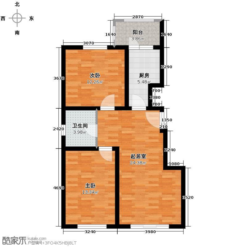 恒益隆庭91.52㎡1号楼标准层D2户型2室2厅1卫