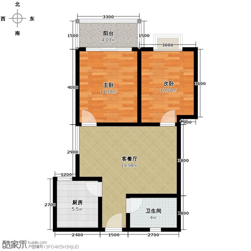 晟方佳苑77.04㎡M户型2室1厅1卫1厨