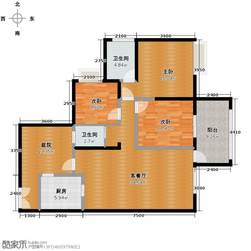 礼顿山1号118.26㎡A2户型3室1厅2卫1厨