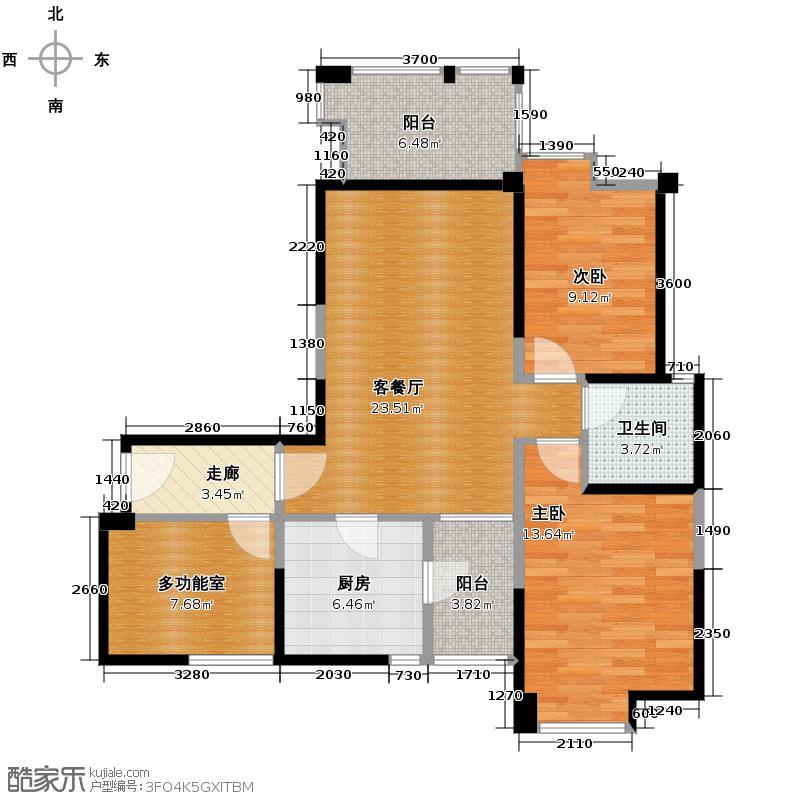 首创东公元80.07㎡二期15-17#D3奇数层户型2室1厅1卫1厨