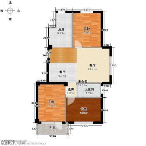 兰亭假日3室2厅1卫0厨88.00㎡户型图