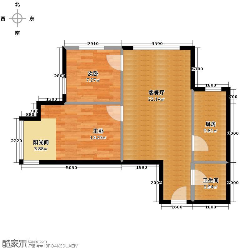 星河18574.84㎡B楼B1户型2室1厅1卫1厨