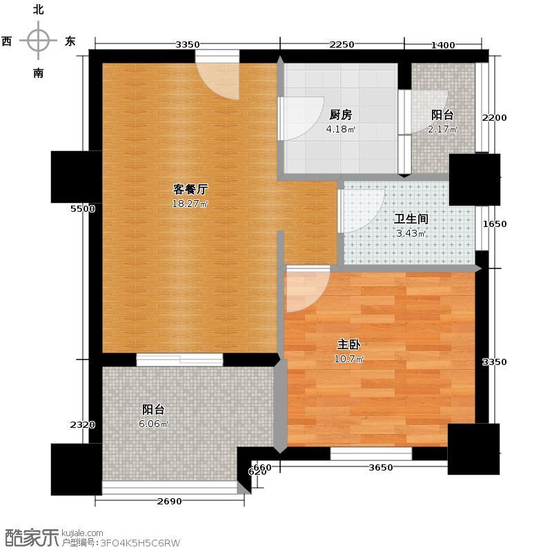 天紫界52.08㎡9B房号1-2-48~52户型1室1厅1卫1厨