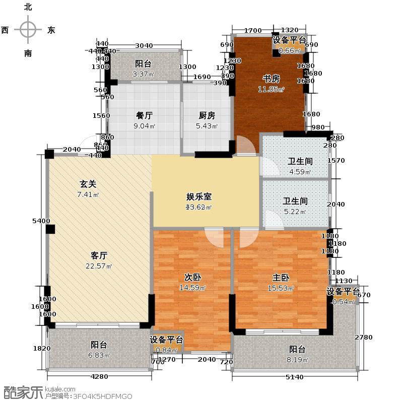 鼎盛华城139.87㎡B6户型3室2厅2卫