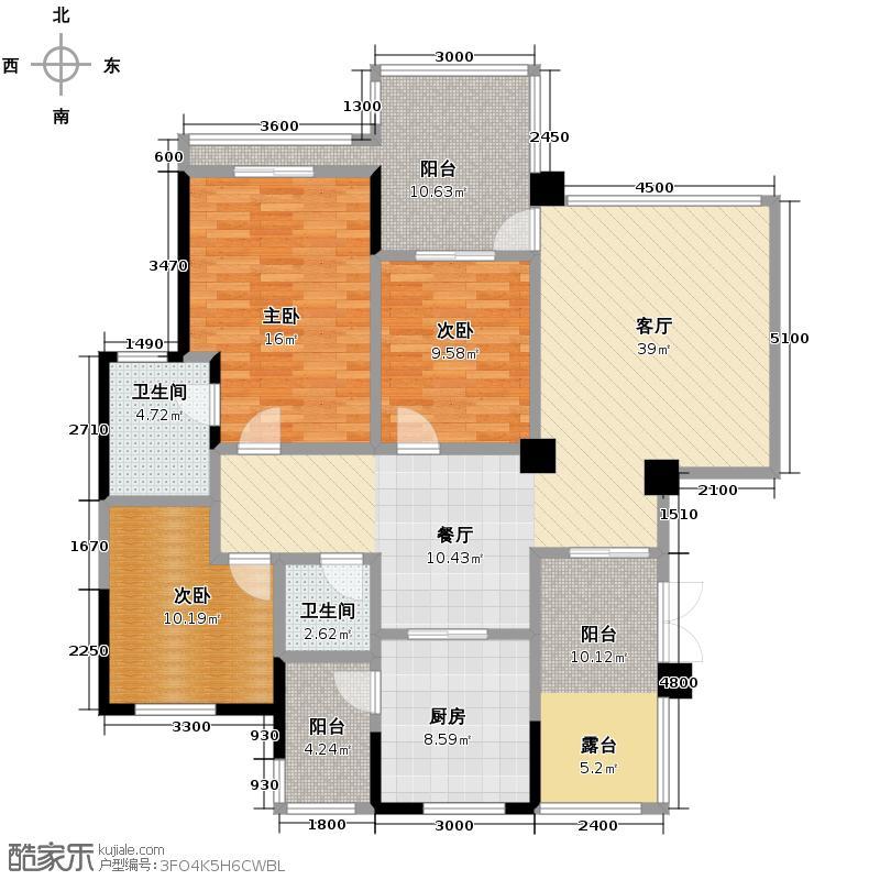 聚义香城雅郡107.97㎡一期标准层1、2、8、9号楼A3户型3室1厅2卫1厨