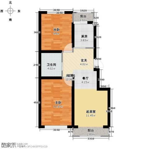 塞纳阳光2室2厅1卫0厨74.00㎡户型图