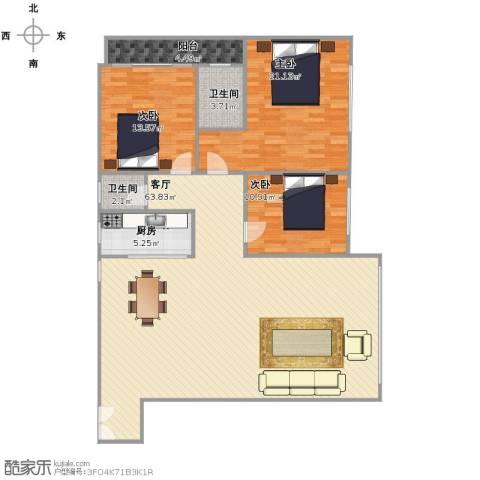 银行家园3室1厅2卫1厨166.00㎡户型图
