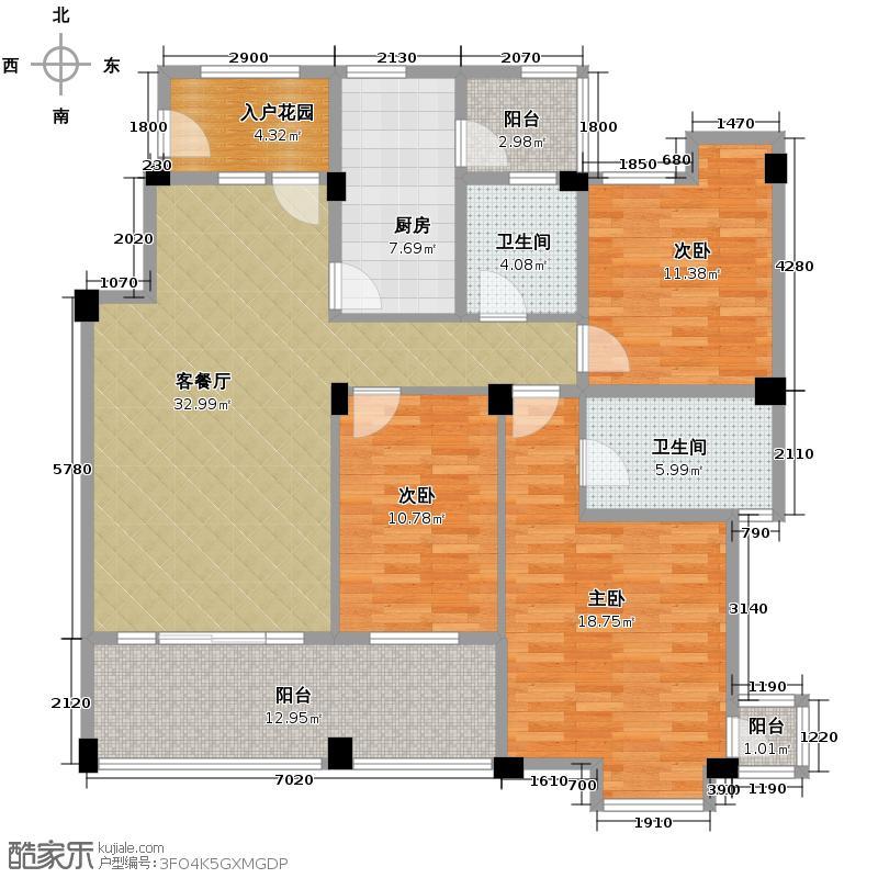 龙城1号125.00㎡J型3楼户型10室