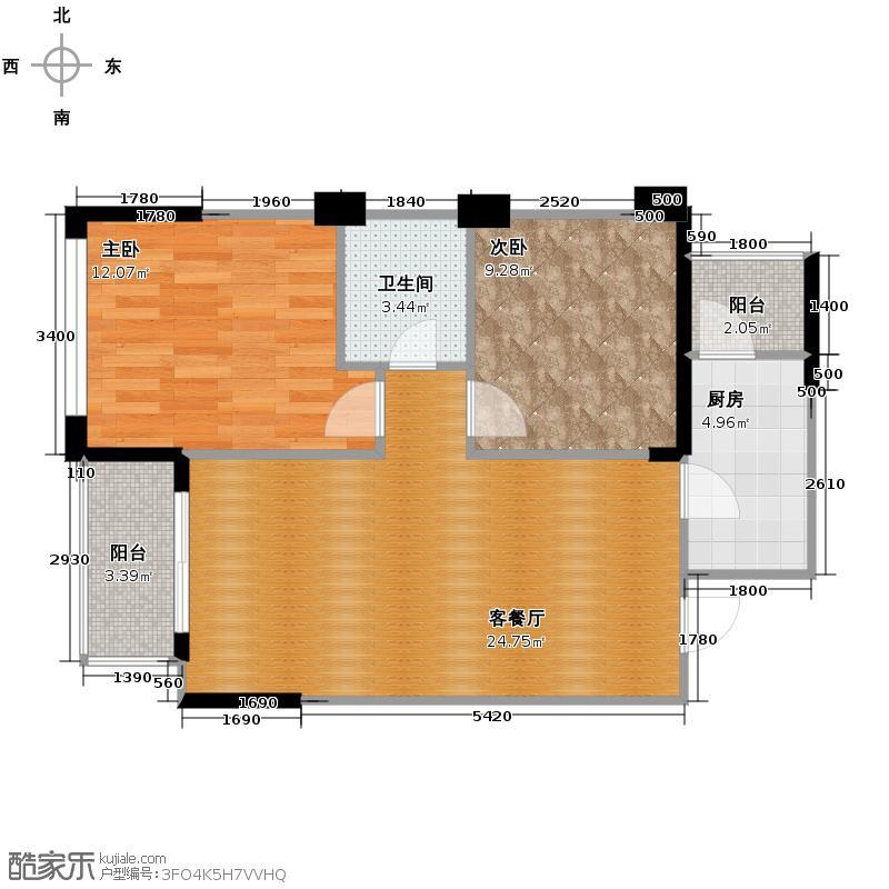 万科悦峰75.00㎡110315转-02双阳台户型2室1厅1卫1厨
