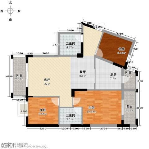 福地华庭3室1厅2卫1厨104.35㎡户型图