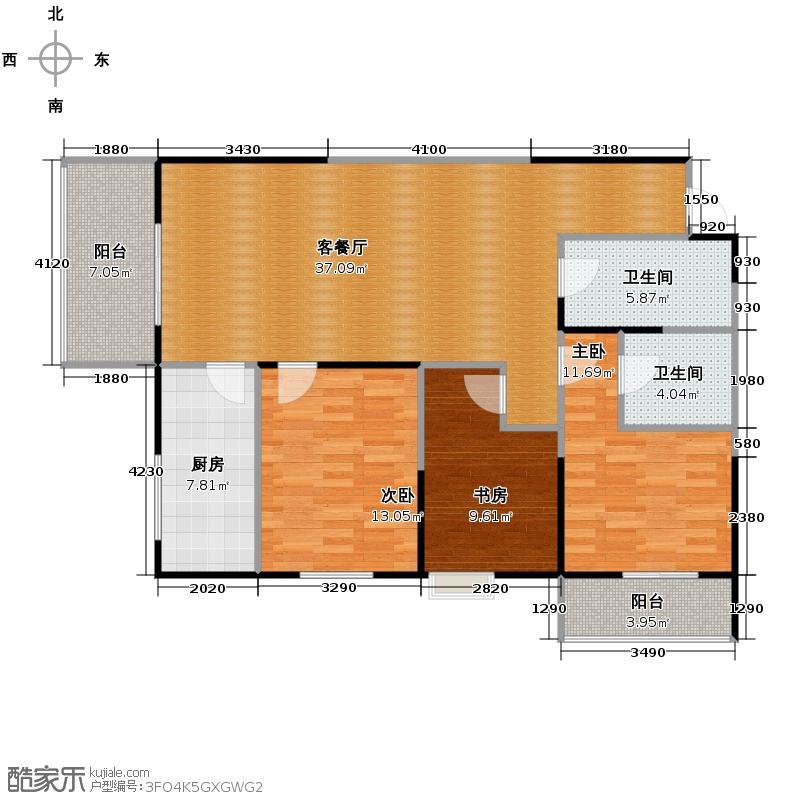 蔚蓝领寓125.75㎡1号楼E户型3室1厅2卫1厨