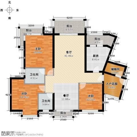 珊瑚水岸3室2厅2卫0厨124.01㎡户型图