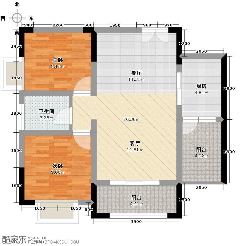 壹江城C调66.00㎡D4-1号6号房户型2室1卫1厨