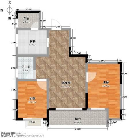 万科悦峰2室1厅1卫1厨74.00㎡户型图