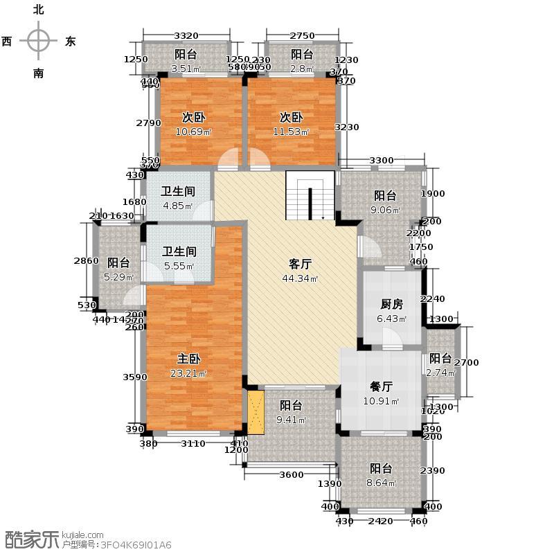 蓝溪谷地131.58㎡图为2FA户型3室1厅2卫1厨