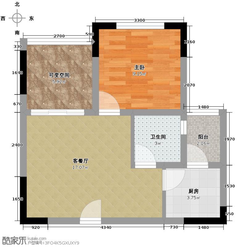 七星恋城58.07㎡A-1标准层户型1室1厅1卫1厨