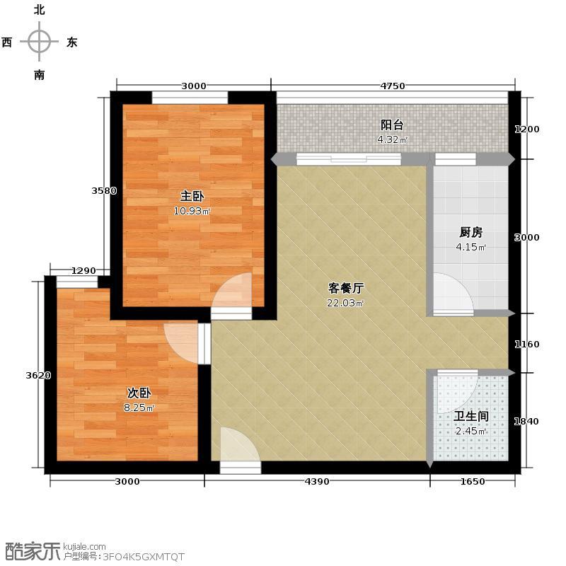 中海曲江碧林湾67.00㎡户型2室1厅1卫1厨
