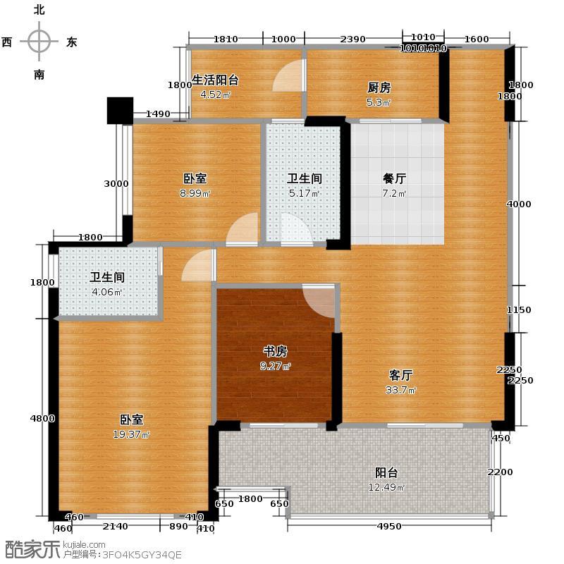 金科公园王府大户人家121.50㎡王子公馆D22号房带院馆户型2室2厅2卫