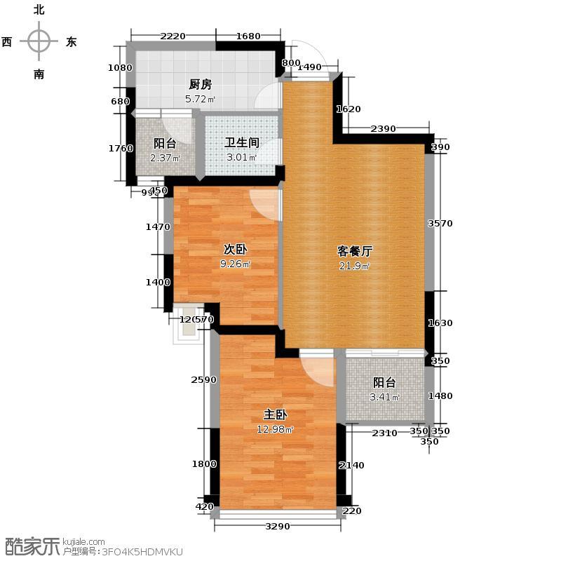 金阳易诚国际73.82㎡2011年1月在售1号楼B17户型2室1厅1卫1厨