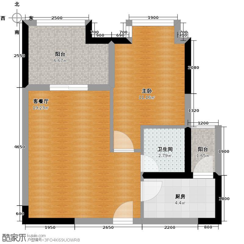 东原D7区45.73㎡A户型1室1厅1卫