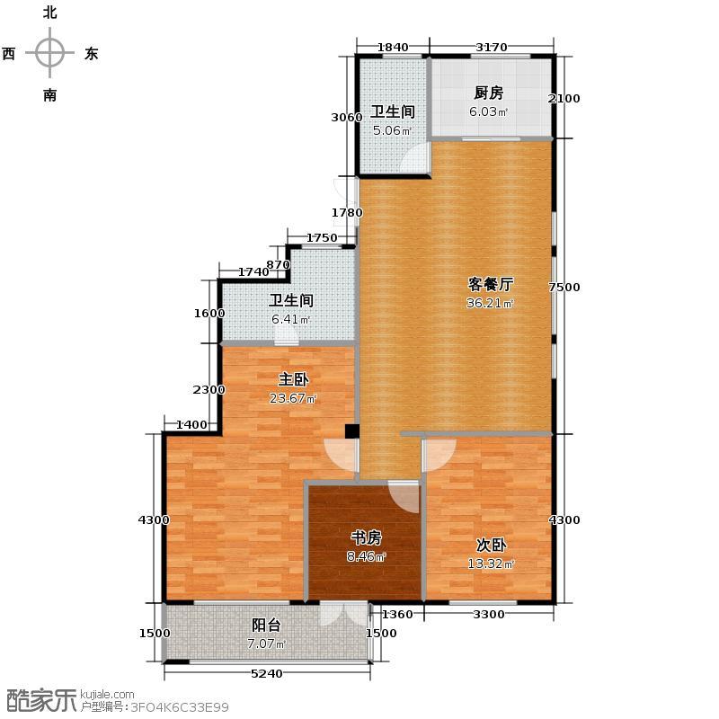 五月花城138.00㎡户型3室2厅2卫