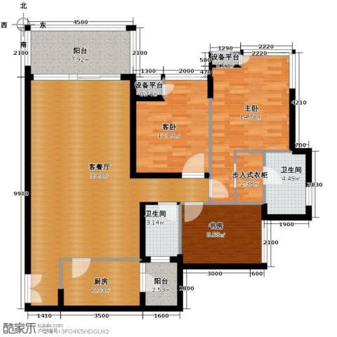金辉苹果城3室1厅2卫1厨104.00㎡户型图