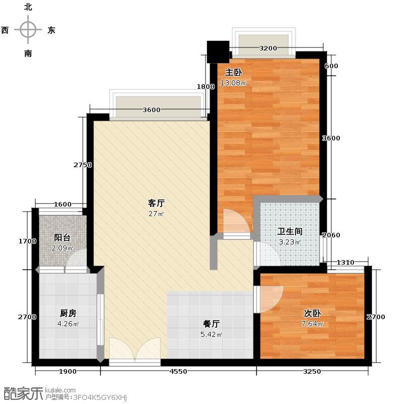 泽科港城国际72.85㎡H1号楼6/7号房单卫户型2室1厅1卫1厨