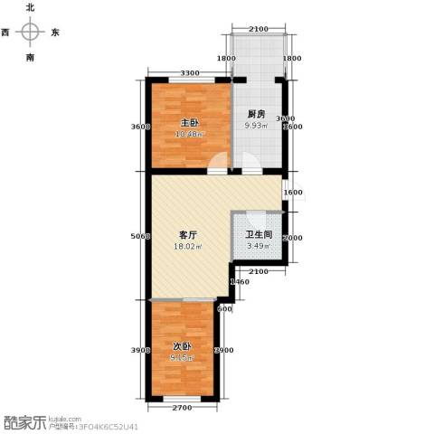 应赫金海城2室1厅1卫0厨51.08㎡户型图