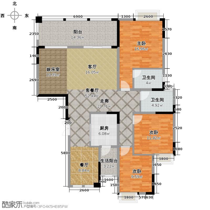 观城135.00㎡一期F3户型3室2厅2卫