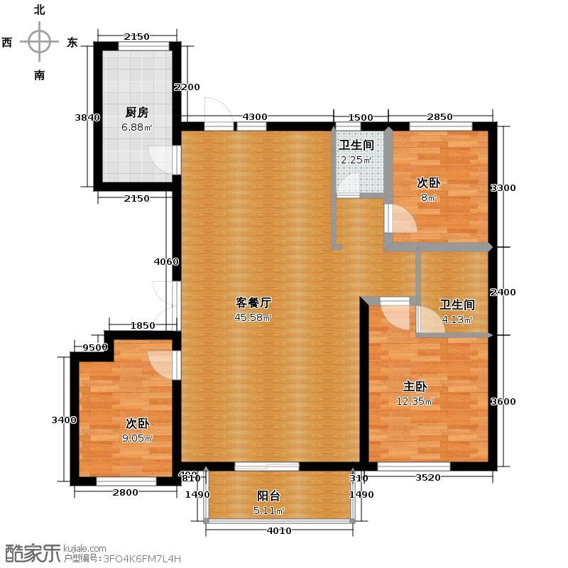 孔雀海120.00㎡7号楼户型3室2厅2卫