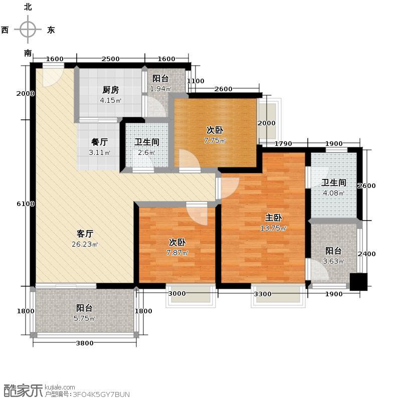 和泓四季100.11㎡景致组团5号楼1号房、7号房双卫户型3室2厅2卫