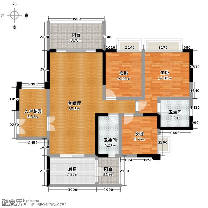 仁和春天国际花园137.57㎡8号楼B2户型3室2厅2卫